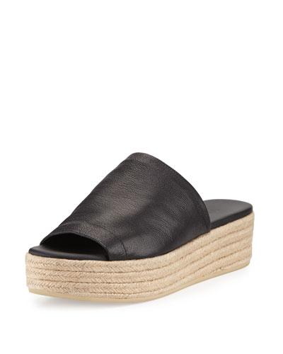Solana Leather Platform Espadrille Sandal, Black