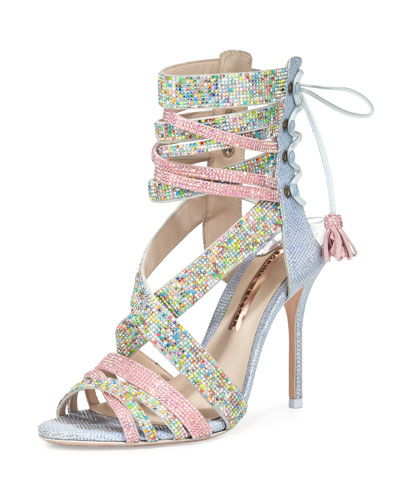 Adeline Dreamy Crystal Lace-Up Sandal, Pink/Blue