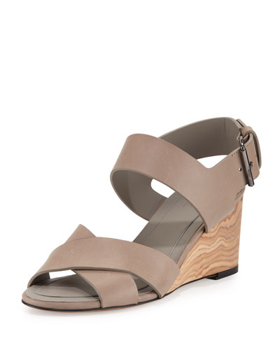 Gwyn Leather Slingback Wedge Sandal, Pumice
