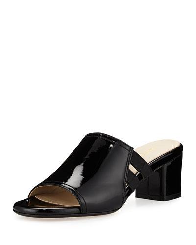 Rimba Patent Chunky-Heel Sandal, Black