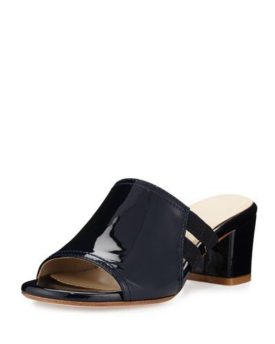 Rimba Patent Chunky-Heel Sandal, Navy