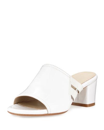 Rimba Patent Chunky-Heel Sandal, White