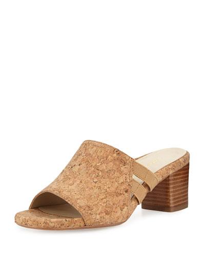 Rimba Cork Chunky-Heel Sandal, Natural