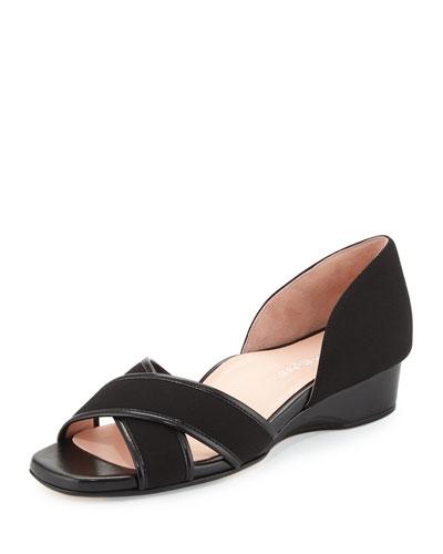 Kaida Crisscross Demi-Wedge Sandal, Black