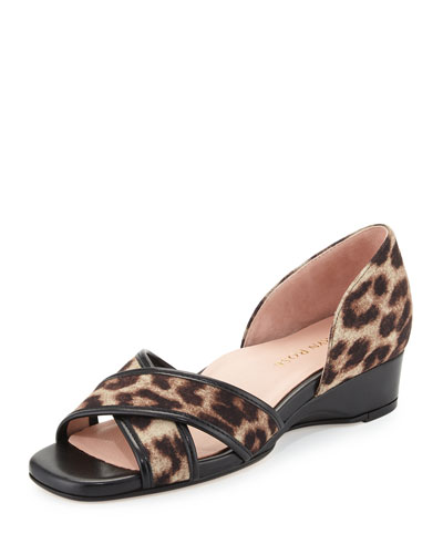 Kaida Crisscross Demi-Wedge Sandal, Tan/Black