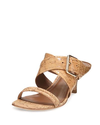 Mora Buckle Kitten-Heel Slide Sandal, Natural
