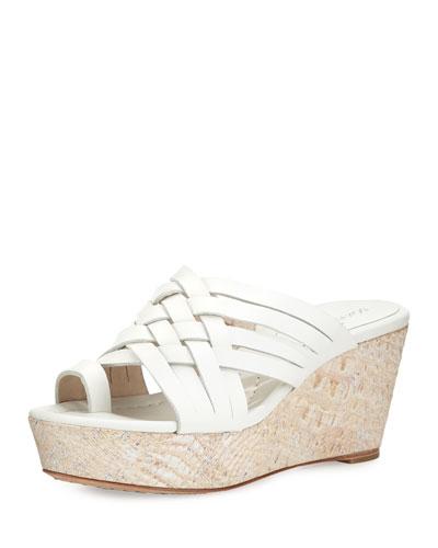 Flore Woven Platform Wedge Sandal, White