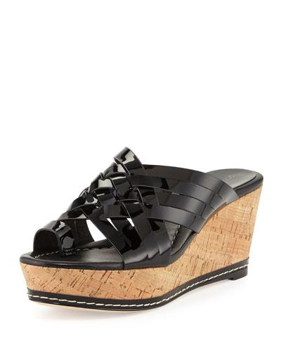 Flore Woven Platform Wedge Sandal, Black