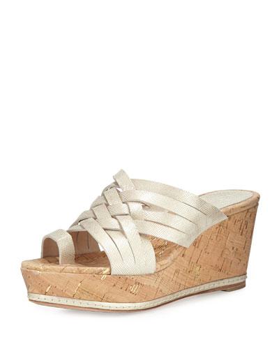Flore Woven Platform Wedge Sandal, Platino