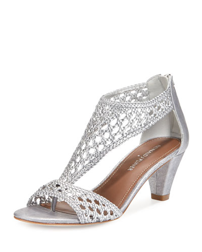 Verona Woven Leather Sandal, Silver