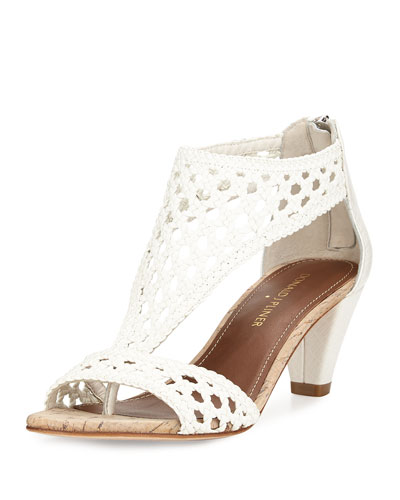 Verona Woven Leather Sandal, White