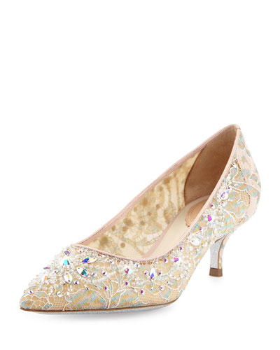 Crystal-Embellished Lace Low-Heel Pump, Lilac/Multi