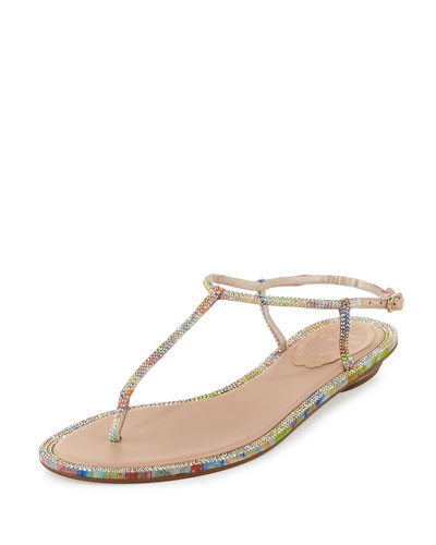 Pop Beaded Flat Thong Sandal, Multi