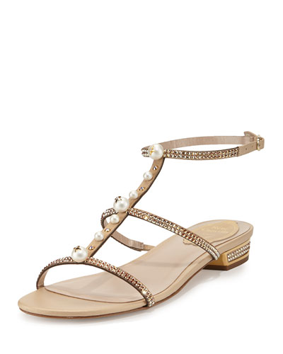 Embellished T-Strap Flat Sandal, Gold