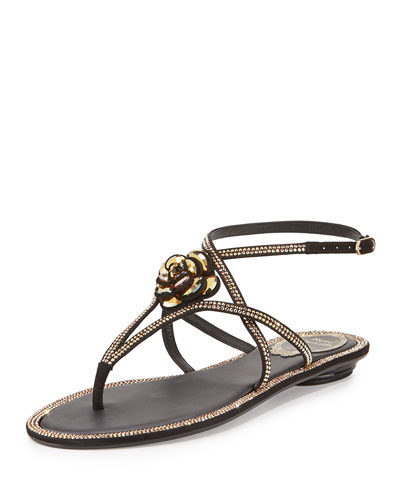Floral Crystal-Trim Flat Thong Sandal, Black
