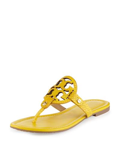 Miller Snake-Embossed Logo Flat Sandal, Sour Lemon