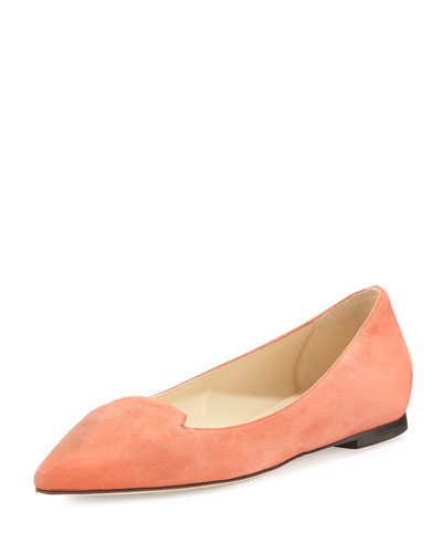 Attila Suede Pointed-Toe Flat, Agate