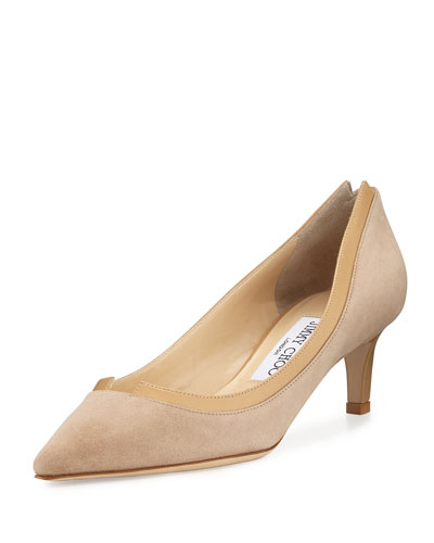 Imogen Pointed-Toe Kitten-Heel Pump, Nude