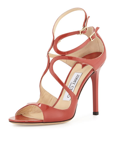 Lang Patent Strappy 100mm Sandal, Agate