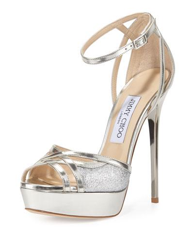 Laurita Metallic Glitter 135mm Sandal, Silver