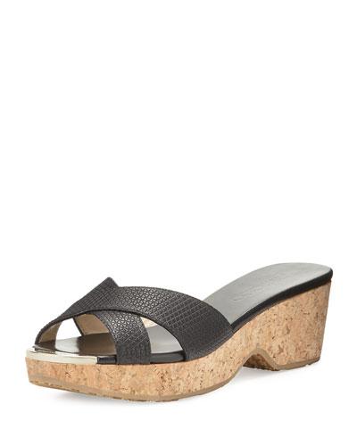 Panna Embossed Crisscross Slide Sandal, Black