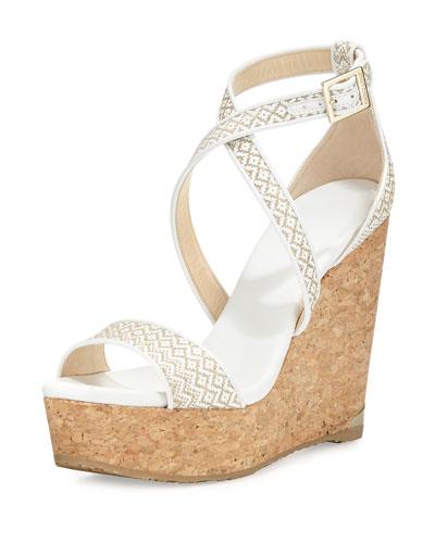 Portia Woven Crisscross Wedge Sandal, White/Marble