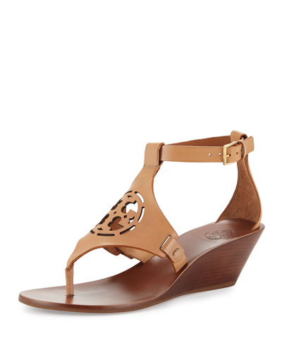 Zoey Leather Logo Wedge Sandal, Sand