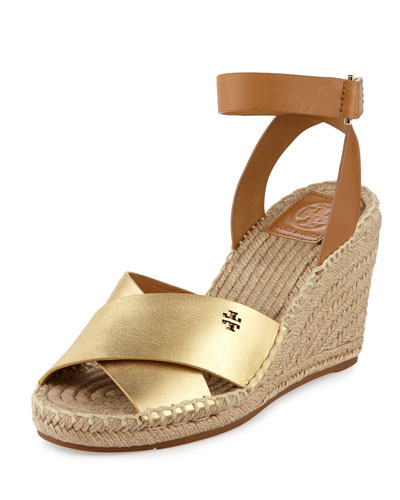 Bima Leather Wedge Espadrille Sandal, Gold/Royal Tan
