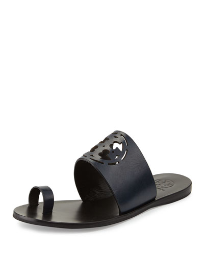 Zoey Leather Logo Toe-Ring Sandal, Bright Navy