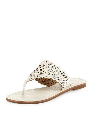 Roselle Laser-Cut Thong Sandal, Ivory