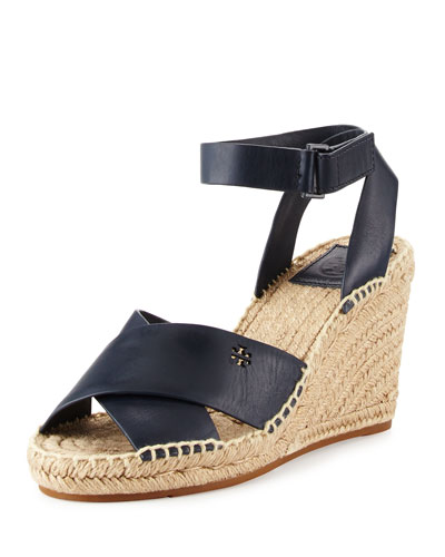 Bima Leather Wedge Espadrille Sandal, Bright Navy