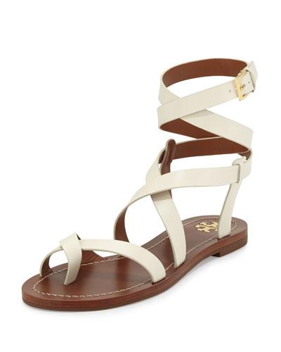 Patos Crisscross Leather Sandal, Ivory