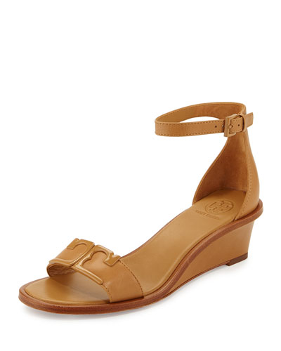 Marcia Leather Demi-Wedge Sandal, Blond