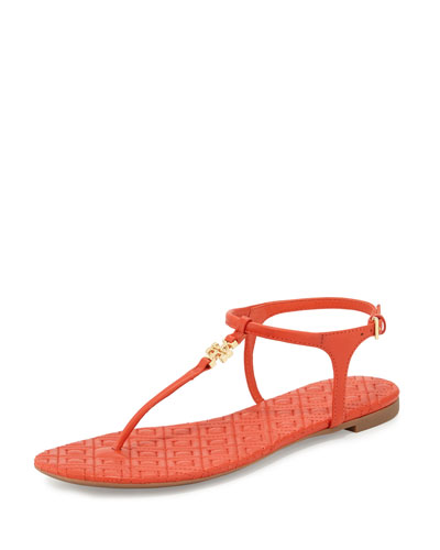 Marion Quilted T-Strap Sandal, Poppy Red