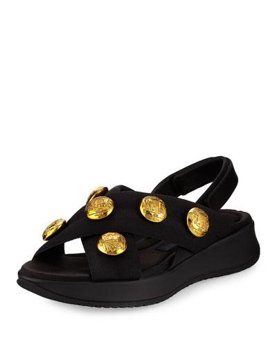 Actonshire Studded Crisscross Sandal, Black