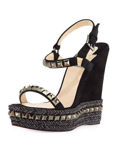 Cataclou Studded Suede Red Sole Wedge Sandal, Black