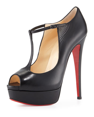 Altapoppins T-Strap Platform Red Sole Pump, Black