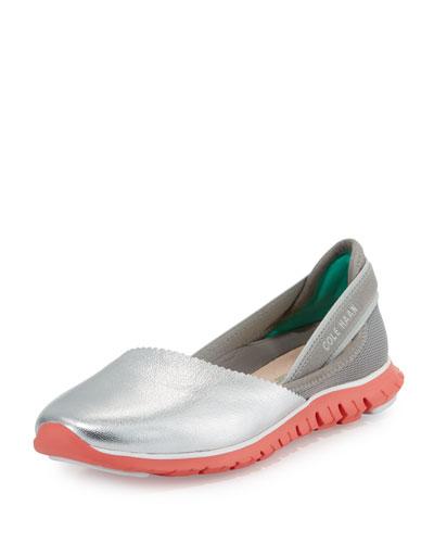 ZeroGrand™ Leather/Fabric Slip-On Sneaker, Argento
