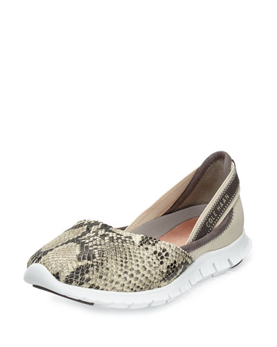 ZeroGrand™ Snake-Embossed Leather Slip-On Sneaker, Gray