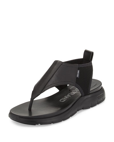 ZeroGrand™ Leather/Mesh Thong Sandal, Black