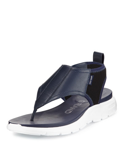 ZeroGrand™ Leather/Mesh Thong Sandal, Twilight Blue