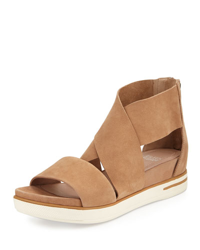 Sport Wide-Strap Leather Sandal, Wheat