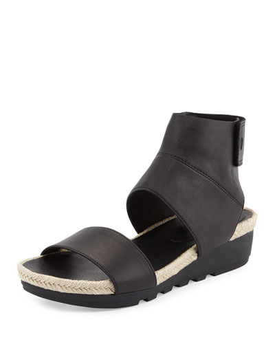 Glad Leather Espadrille Sandal, Black