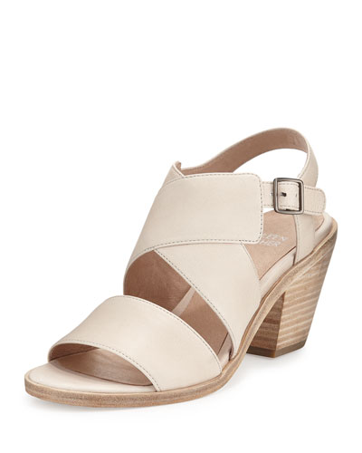 Cara Crisscross Leather Sandal, Natural