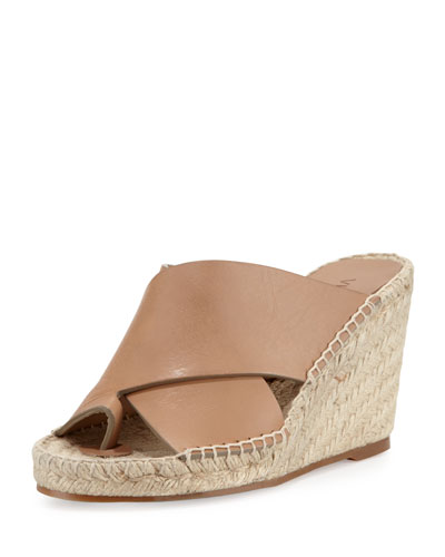 Suraya Crisscross Leather Wedge Mule, Sand