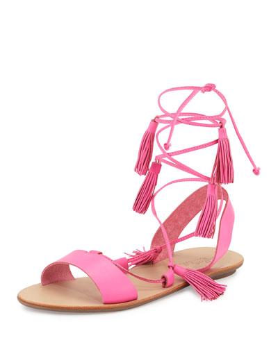 Saffron Leather Tassel Flat Sandal, Bright Fuchsia