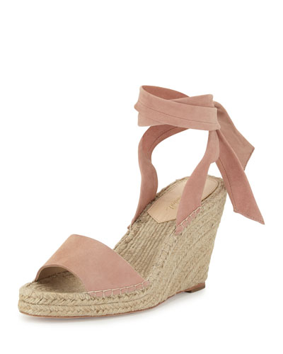 Harper Ankle-Wrap Wedge Espadrille Sandal, Blush