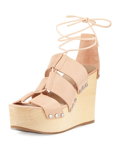 Ines Leather Lace-Up Wedge Sandal, Nude