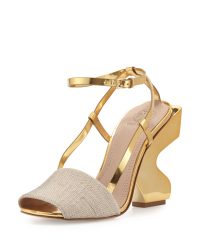 Curio Curve-Heel 110mm Sandal, Natural/Gold