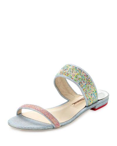 Adaline Dreamy Crystal Flat Slide Sandal, Pink/Blue